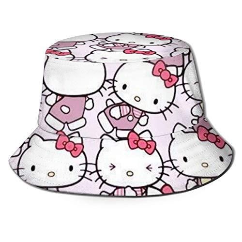 Nette rosa Hello-Kitty Fischerhut Sommer UV-Schutz Reiseeimer Hüte Strand Faltbare Sonnenkappe für Männer Frauen