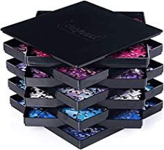 Tidyboss 8 Puzzle Sorting Trays with Lid - Portable Jigsaw Puzzle Accessories Black Background Makes Pieces Stand Out to Better Sort Patterns, Shapes and Colors | for Puzzles Up to 1500 Pieces