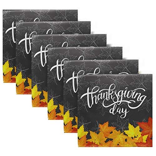 Servilletas de Tela Happy Thanksgiving Autumn Maple Leaves Juego de 6 servilletas de Cena, servilletas de Mesa Reutilizables para cócteles, Vacaciones, Bodas, hogar, decoración