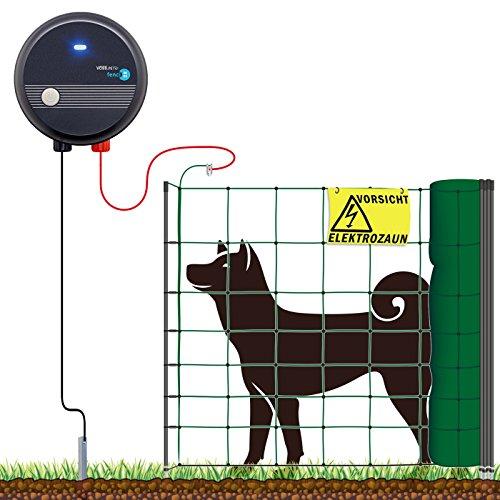 VOSS.farming Hundezaun Komplett-Set, einfacher, sicherer Hunde-Elektrozaun, 50m Hütenetz, praktischer Kleintier-Auslauf, wirksam für den Gartenbereich, Höhe 90cm, 1 Spitze, grün