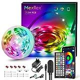 Tira de luces LED de 7,5 m, sincronización de música, cambio de color, RGB LED, 44 teclas, mando a distancia, micrófono integrado, tiras LED 5050 RGB