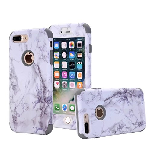iPhone 7 Plus case, NOKEA [Marble Pattern] Three Layer Hybrid Heavy Duty Shockproof Protective Bumper Cover Soft Silicone Combo Hard PC Case for iPhone 7 Plus (Grey)