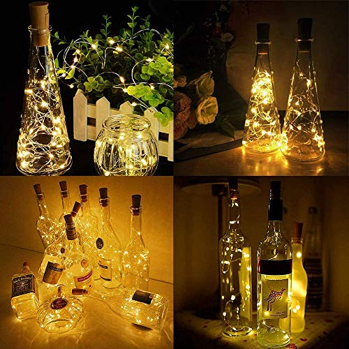 Luz de Botella, 8pack 2m 20LEDLuces Para Botellas la Decoración de LED Para las Luces de la Botella del Cobre de la Secuencia Amistosa Económica de la Luz del Corcho del Partido (2M 20LEDs-8pcs)