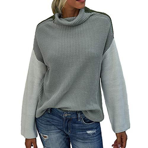 ZHUQI Women Sweaters Women Pullover Elegant Long Sleeve Simplicity Knitting Women Sweaters Autumn Winter New Temperament All-Match Warm Comfort Women Sweaters B-Gray S