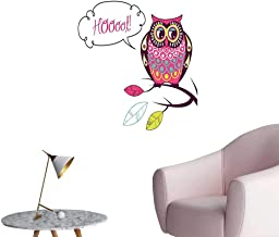 Wall Stickers for Living Room Ornate Colorful Owl The Observ Flat Face Myst Animal sy Image Purple Vinyl Wall Stickers Print,24