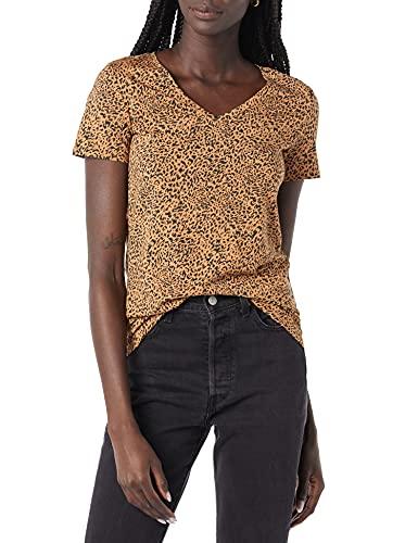 Amazon Essentials 2-Pack Classic-fit Short-Sleeve V-Neck T-Shirt Camiseta, Paquete de 2 Camel/Negro Ikat Animal/Azul/Blanco Rayas, S, Pack de 2