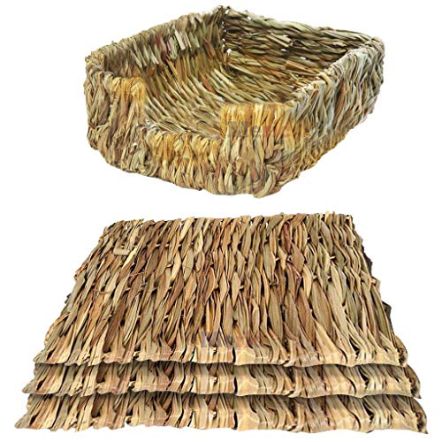 Meric 3 Seagrass Mats and 1 Portable Grass Bed, Handmade Woven Play Bed, Comfortable for Rabbits, Chinchillas & Other Small Animals