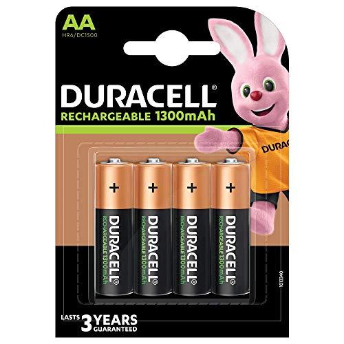 Duracell Recharge Plus AA Mignon Akku Batterien LR6 1300 mAh, 4er Pack
