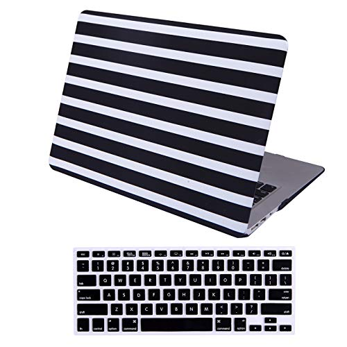 HDE MacBook Air 13 inch Case - Hard Shell Cover Keyboard Skin Fits Previous Generations A1466 A1369 (2008-2017) - Black and White Stripes