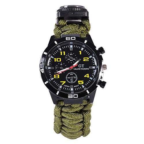 Wasserdichte Multifuctional Survival Paracord Armbanduhr mit Kompass Flint Feuer Starter Scraper Whistle Gear (Armeegrün)