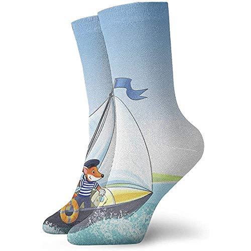 Be-ryl Casual Crew Socks Yacht, Regatta nouveauté Chaussettes Chaussettes d'hiver pour Hommes et Femmes - 30 cm