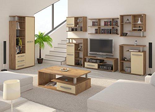 """Wohnzimmer Möbel Satz, TV Wohnwand \""""ANGEL 7\"""" TV Bank, Freistehend Vitrine, Wandhängend Regale mit Vitrine (x3) plus Kleine Kommode (x2) und Kaffetisch. Craft Gold/Cream."""