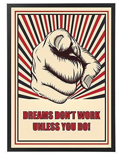 PICSonPAPER motivatieposter 50 cm x 70 cm, Dreams Don't Work Unless You do! met zwarte fotolijst, startup motivatie, quote, motivatie poster met lijst, startup quote, business poster