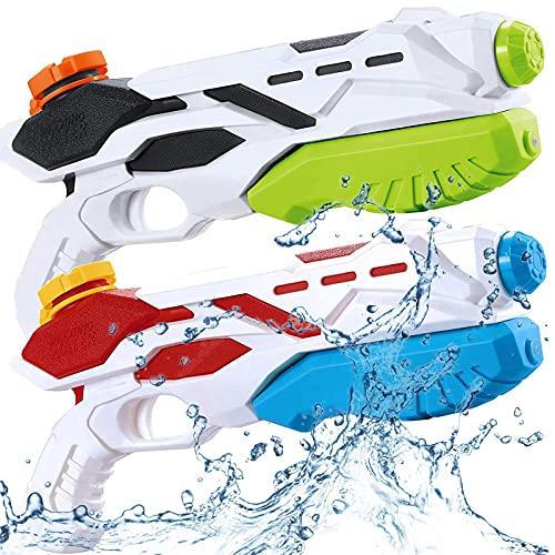 BLAZOR Wasserpistole, 2 Pack Wasserpistole mit Großer Reichweite, Kinder Water Gun Blaster Spielzeug für Sommerpartys im Freien, Strand, Pool Strandspielzeug (Multicolor)