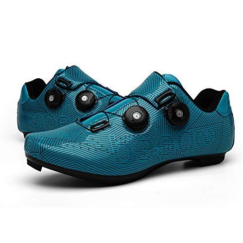 JINFAN Zapatos de Ciclismo para Hombres Mujeres,Zapatos para Montar en Carretera, Zapatos Giratorios con Hebilla, Tacos Compatibles con SPD Look Delta,Blue-7UK=(255mm)=41EU