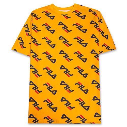 Fila Men Big and Tall Print Crewneck T Shirt Men Short Sleeve Shirts Men Gold XLT