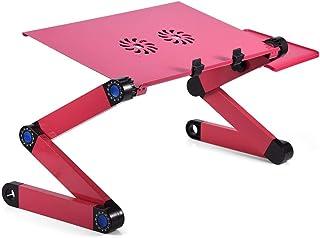 Soporte para computadora portátil, Soporte de Mesa de Escritorio portátil Plegable Ajustable en 360 ° con Ventilador de enfriamiento, Bandeja para Mouse Soporte para computadora portátil(Rosa roja)