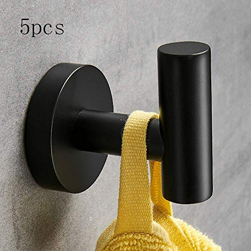 Gancho para colgar, toallero, pintura de goma moderna Negro Gancho para ropa simple Acero inoxidable 304 Gancho para abrigos cepillado Gancho para toallas Accesorios de baño Armario Zapatero Gancho