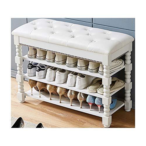 BBJOZ Gomma Legno Shoe Indoor del Governo, ha attenuato Top Bagagli Sgabello, 4-Tiers Scarpe ripiano con Household Imbottito (Color : White)