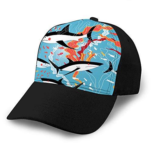 LJKHas232 707 Sombreros de béisbol para Hombres Gorras de béisbol de Tela con Estilo de Perfil bajo patrón gráfico de Tiburones de natación Gorra de béisbol de Mezclilla Personalizada