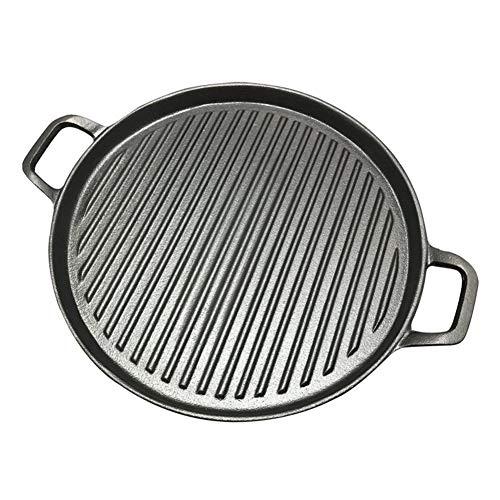 Pan 30 cm Verdikte Gestreepte Gietijzeren Steak Frying Pan BBQ Grillplaat Grillplaten Vlees Roosteren Pan Ongecoate Nonstick Kookgerei 30cm Zwart