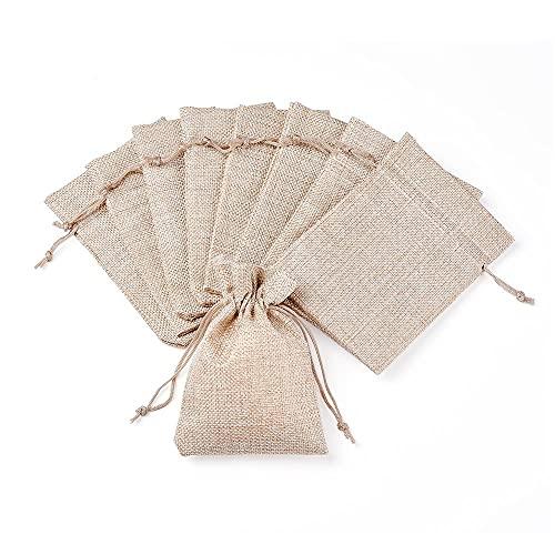 Sacchettini Juta,Sacchettini Lino 100pc juta regalo borse da regalo borsa da imballaggio borse gioielli imballaggio sacchetti con coulisse per imballaggio favorire caramelle presente gioielli visualiz
