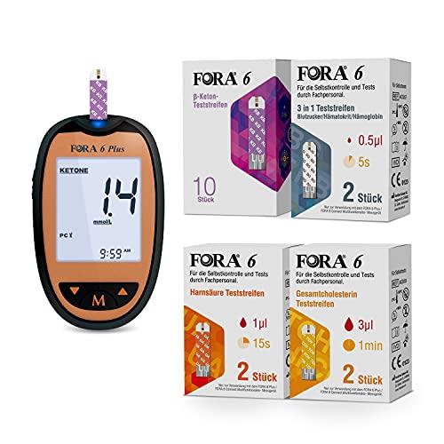 FORA 10 pcs β Keton-Teststreifen, 2 Stück, Harnsäure-Teststreifen, Gesamtcholesterin-Teststreifen, Hämatokrit- und Hämoglobin-Teststreifen (3-in-1), Zur verwendung mit dem FORA Blutzuckermessgerät.
