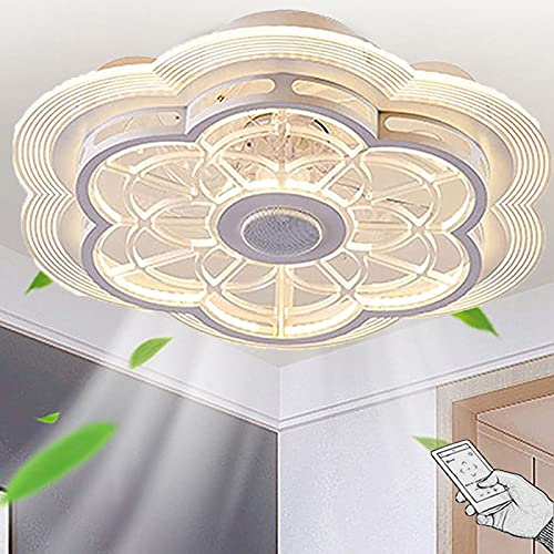 LED Bluetooth Música Ventilador de Techo con Luz y Mando a Distancia Silencioso Invisible Regulable Lámpara del Ventilador 3 Velocidades del Viento Puede ser Cronometrado para Salon Dormitorio Fiesta