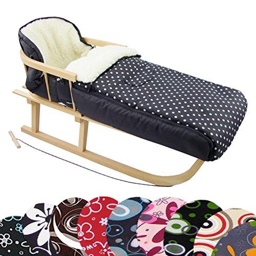Rawstyle *Kombi-Paket* Holz-Schlitten mit Rückenlehne & Zugseil + universaler Winterfußsack (108cm) Lammwolle, auch geeignet für Babyschale, Kinderwagen, Buggy (Schwarz + Punkte Weiß)