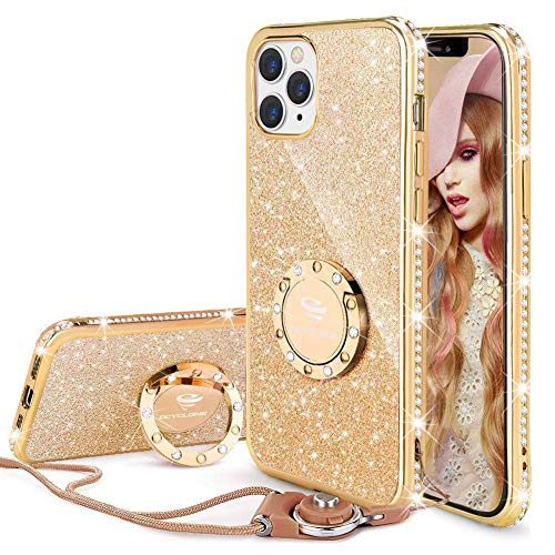 OCYCLONE iPhone 12 Pro Case, iPhone 12 Case, Cute Glitter Sparkle Bling Diamond Rhinestone Bumper with Ring Kickstand Women Girls Case for iPhone 12/12 Pro 6.1 inch - Gold