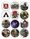 "APEX Legends Buttons Party Favors Supplies Decorations Collectible Metal Pinback Buttons, Large 2.25"" -12 piece set party decoration favors - Video game"