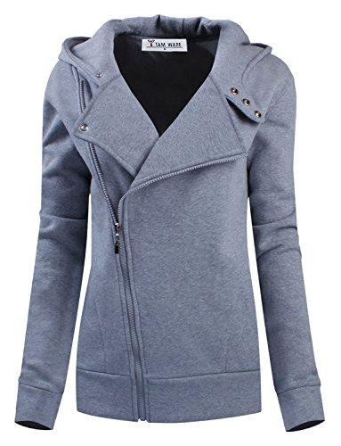 TAM WARE Women Slim fit Zip-up Hoodie Jacket TWHD1003-GRAY-S