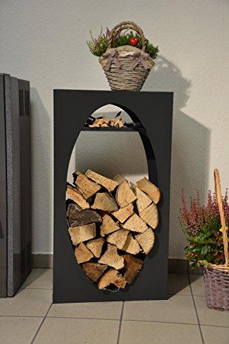 Kaminholzregal Innen aus Metall Oval mit Anfeuerholzfach - Anthrazitgrau