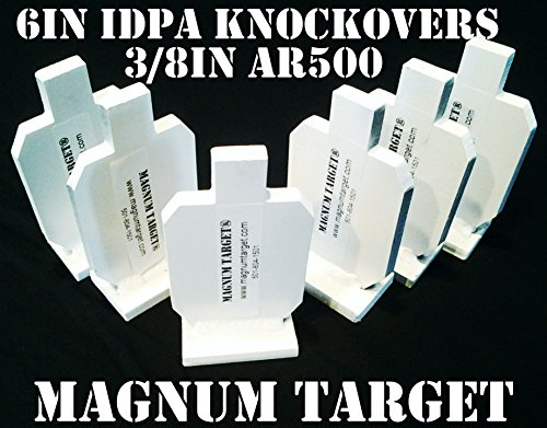 6in IDPA Knock-Over Shooting Targets - 3/8in AR500 Steel - 6pc Rifle Target Set