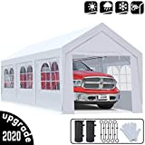 KING BIRD 10 x 20 ft Upgraded Heavy Duty Carport Car Canopy with Removable Sidewalls, Portable Garage Tent Boat Shelter with Reinforced Triangular Beams and 4 Weight Bags