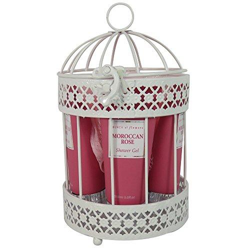 Coffret cadeau pour femme - Cage de Bain en métal blanc - Collection Aromanice - Rose