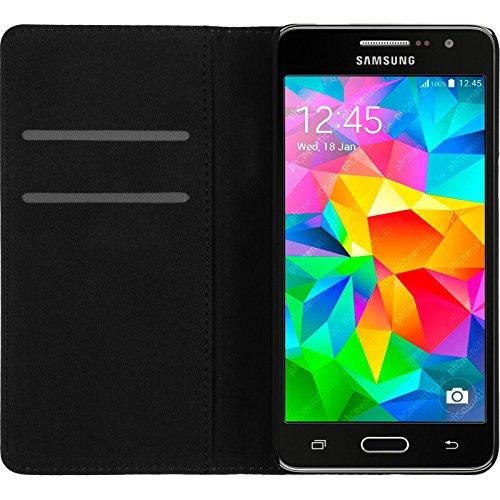 PhoneNatic Cubierta de Cuero Artificial Compatible con Samsung Galaxy Grand Prime - Bookstyle Negro - Cover Cubierta + Protector de Pantalla