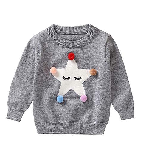 Mamum Bébé Enfants Garçons Mignons Noël Hiver Tops Mélange de coton Pullover Dessin animé Sweatshirt Les Manches Longues (Gris, 80(18Mois))