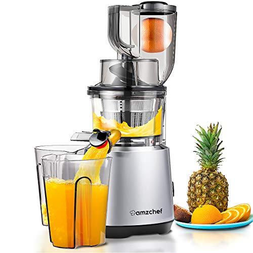 Juicer Machines AMZCHEF Slow Juicer Slow Masticating Juicer Cold Press Juicer Vegetable&Fruit Extractor Reverse Function Quiet 76mm Feed Chute|Juice Jug&Brush BPA-Free