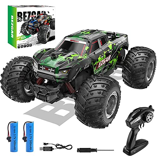 BEZGAR 20 Toy Grade 1:20 Scale Remote Control Car,2WD Top Speed 15 Km/h Electric Toy Off Road 2.4GHz RC Monster Vehicle Truck Crawler with Two Rechargeable Batteries for Boys Kids and Adults