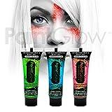 PaintGlow - Pintura para rostro y cuerpo con purpurina y efecto brillante bajo luz UV (3 unidades)