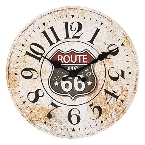 Maisonica Reloj de pared de 30 cm Route 66 – Madera Shabby Vintage Chic