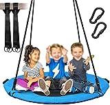 Swing con asiento redondo, columpios para niños y adultos, peso máximo 300kg, gran diámetro 101,6cm, tela,Blue
