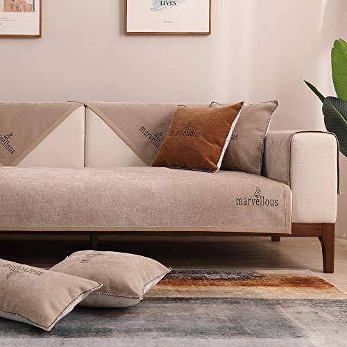 YUTJK Einfarbige Polyester-Sofamatte,Für Haustiere Couch Sofa Überwürfe,Anti-rutsch Übergroßen Spitze Couch Sofa Überwürfe Couch-Shield,Sofaschoner,Für Ledersofas,Khaki