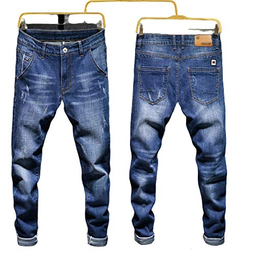 Huntrly Herrenjeans Frühling und Herbst Neue Slim-Fit-Jeans mit normaler Passform Trendy Casual All-Match Tapered Jeans 28