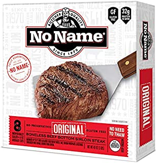 NO NAME Original Sirloin Steak Gift Package-Family Pack of 8x 6oz Beef Bottom Loin Steaks- Boneless Steak , Tender- Perfect for BBQs, Father's Day Gift & More