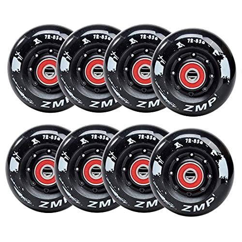 HJXX Paquete de 8 ruedas de skate en línea 85A para patinaje en línea de asfalto o hockey, ruedas de repuesto para patinaje en línea, con rodamientos para niñas y niños