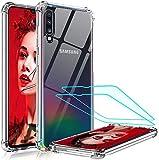 LeYi per Cover Samsung Galaxy A70 / A70s con Pellicola Protettiva in Vetro Temperato [2 Pack], Silicone Trasparente Hard PC Bumper TPU Telefoni Case per Custodie Samsung A70 / A70s Crystal Clear