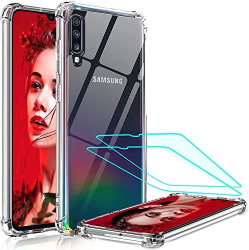 LeYi Funda para Samsung Galaxy A70 con [2-Unidades] Cristal Vidrio Templado,Transparente Shockproof Carcasa Ultra Silicona PC y TPU Slim Gel Bumper Antigolpes Cover Case para Movil Samsung A70, Clear