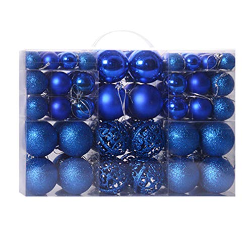 100ct Christmas Ball Assorted Pendant Shatterproof Ball Ornament Set Seasonal Decorations with Reusable Hand-Help Gift Boxes Ideal for Holiday Xmas Tree Decorations, (Blue, 100ct)